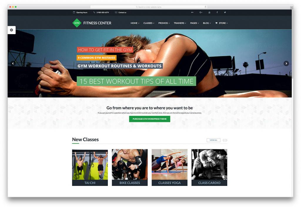 Fitness Center Gym Website Template