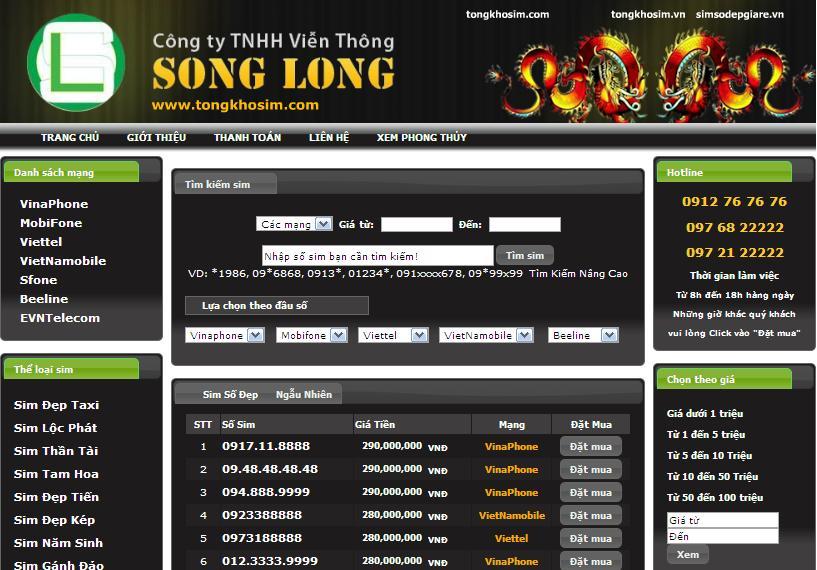 Thiết kế website sim số đẹp chuyên nghiệp