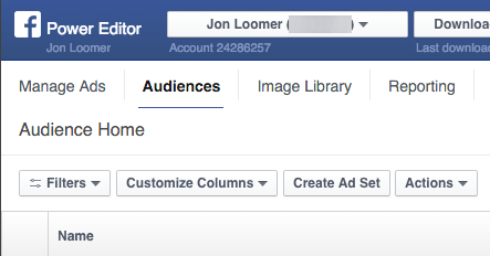 Facebook Power Editor Audiences 1