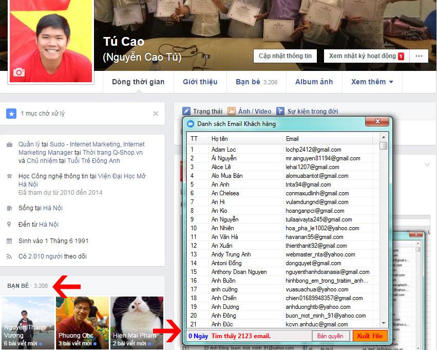 Quyet Email Ban Be Tren Facebook