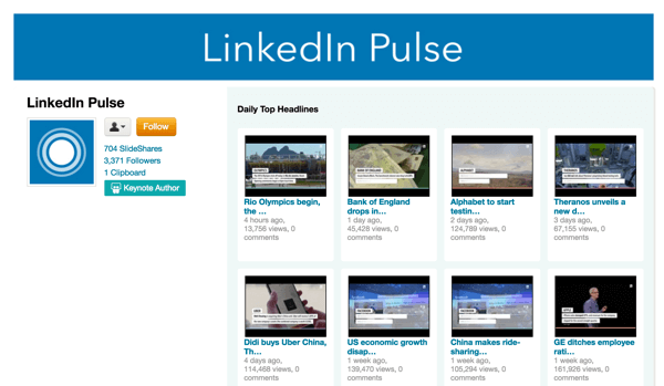 Linkedin Pulse Top Headlines Video