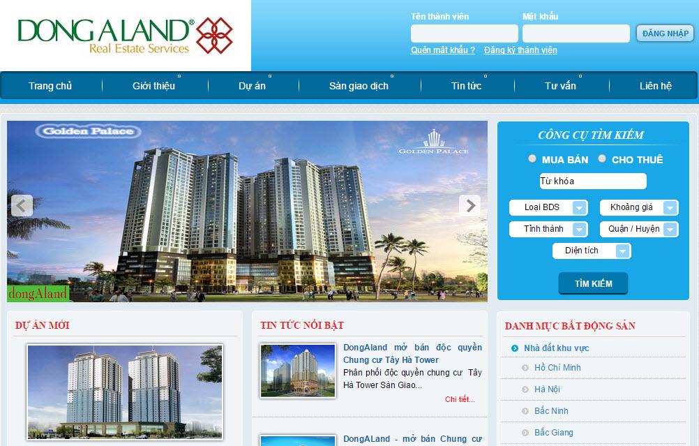 Website bất động sản DONG A LAND đơn giản nhưng đầy đủ chức năng
