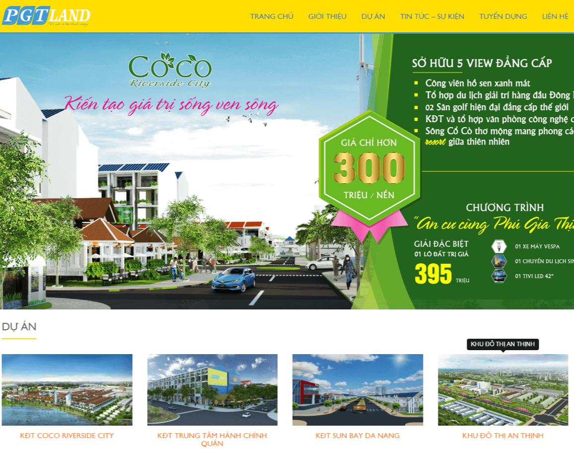 Dự án Thiết kế website Bất động sản PGT LAND