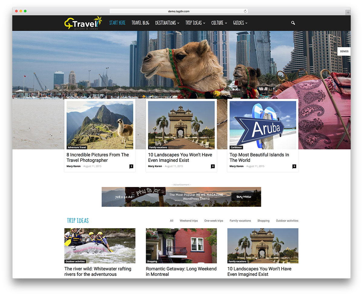 Mẫu website du lịch này đang được khá là yêu thích hiện nay trên thế giới vì khả năng show rất nhiều tin trên trang chủ rất thích hợp cho các website chia sẻ kiến thức về du lịch.