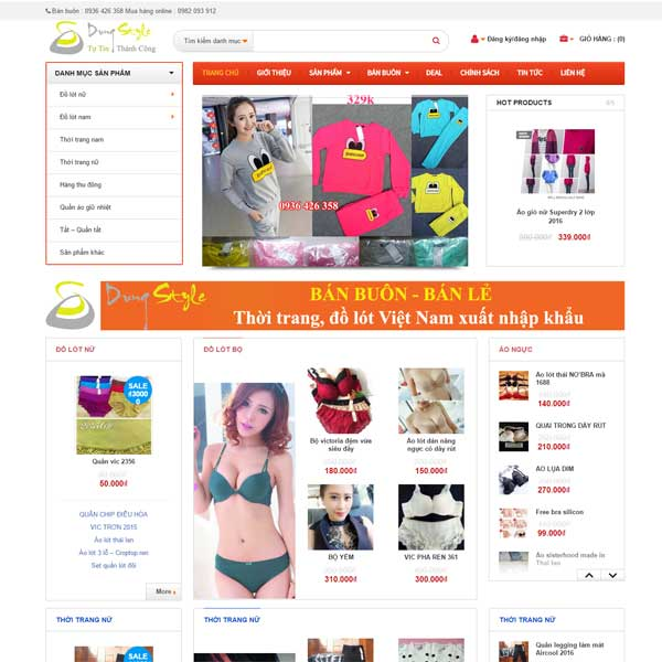 Mau Website Ban Quan Ao Ban Buon Ban Le WBT130