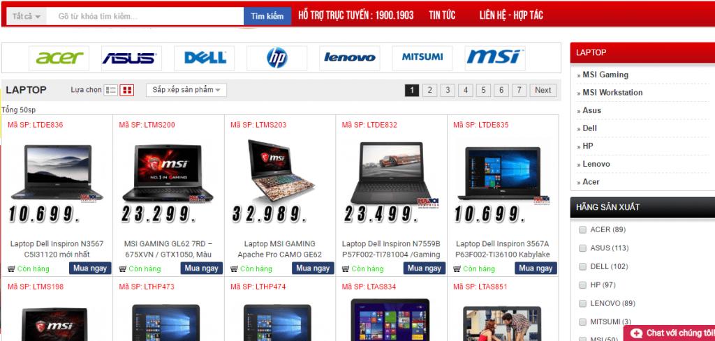 Trang Web Ban Hang Laptop Online 1