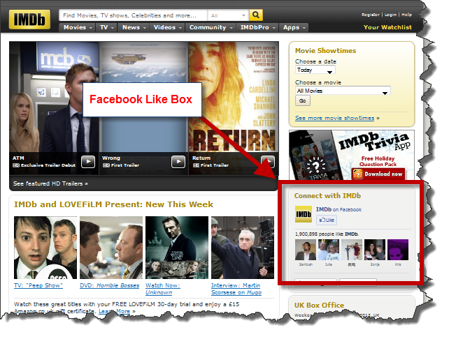 IMDB Facebook Like Box Hallam Internet1