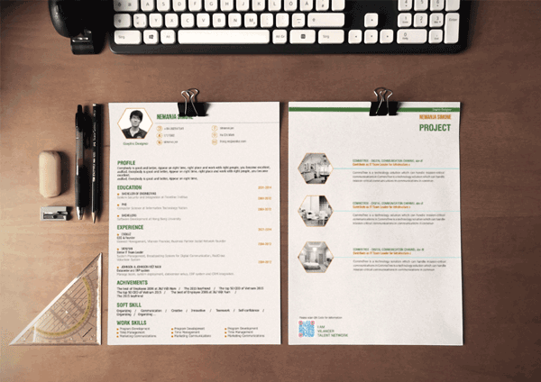 Creative Cv Template 15 Easily And Graphic Design In Green