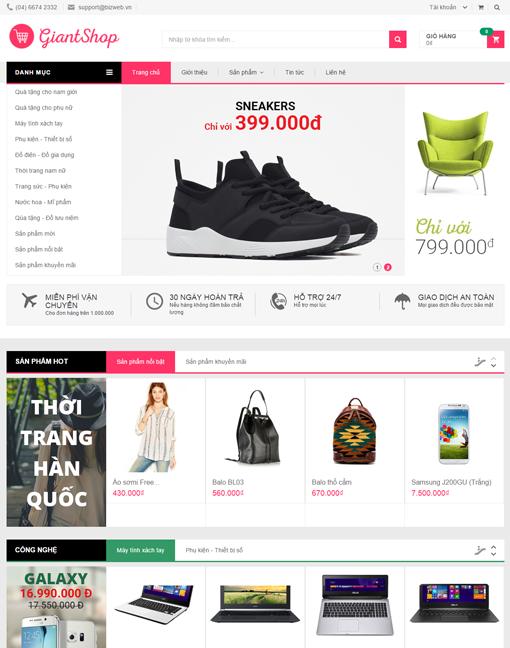Giao Dien Web Ban Hang Giant Shop