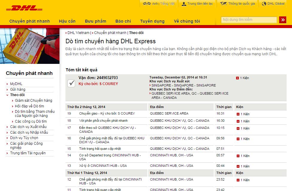 Checking Online Trực Tiếp Trên Web Của DHL