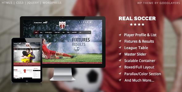 Real Soccer WordPress Theme Dành Cho Bóng Đá.