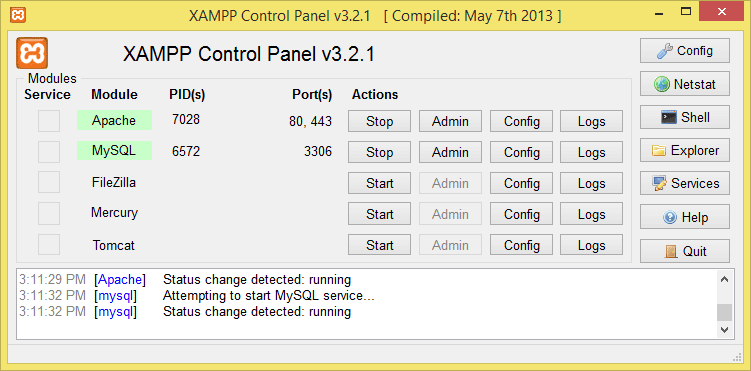 Cua So Xampp Control Panel