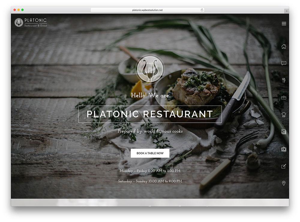 Platonic Simple Restaurant WordPress Theme