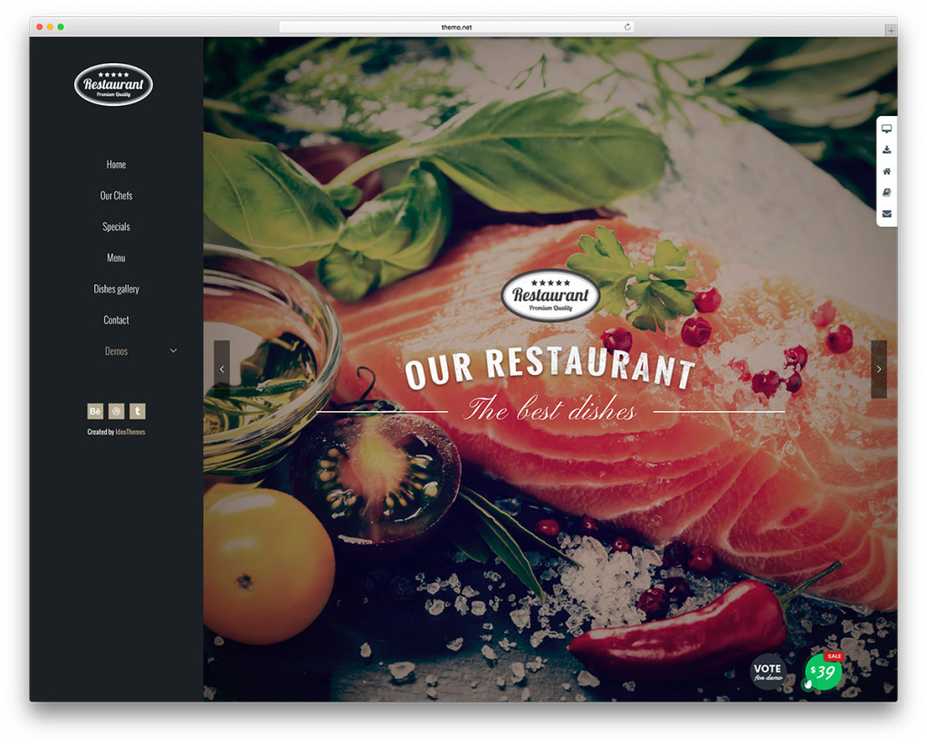 Themo Fullscreen Restaurant Website Template