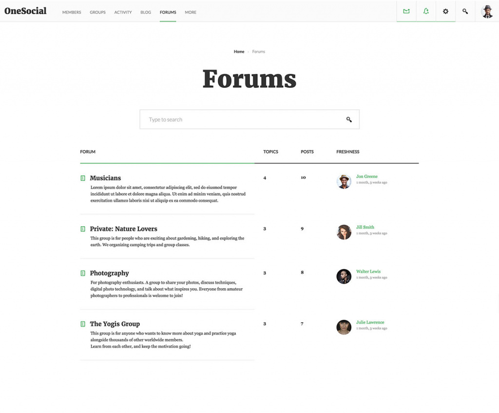 OneSocial Forums