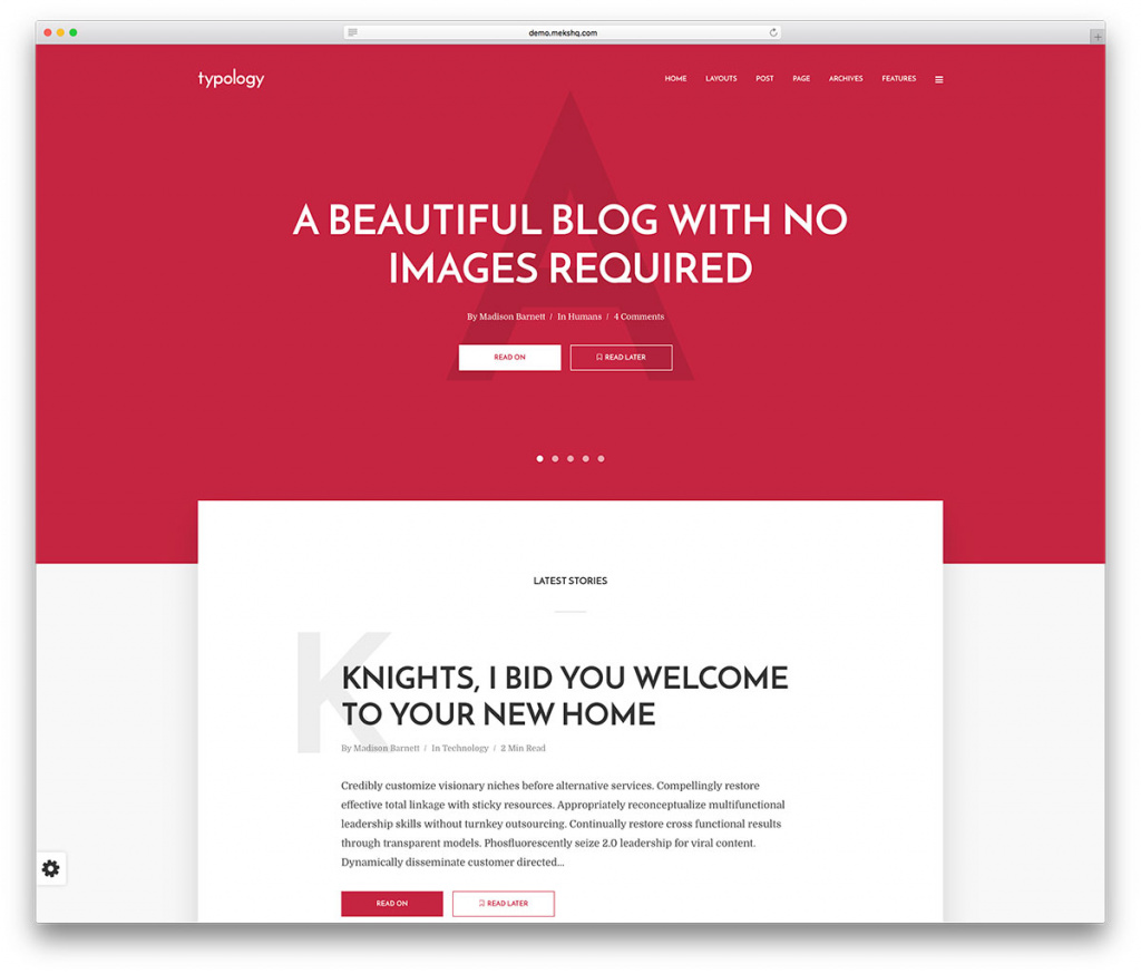 Typology Beautiful WordPress Blog Theme