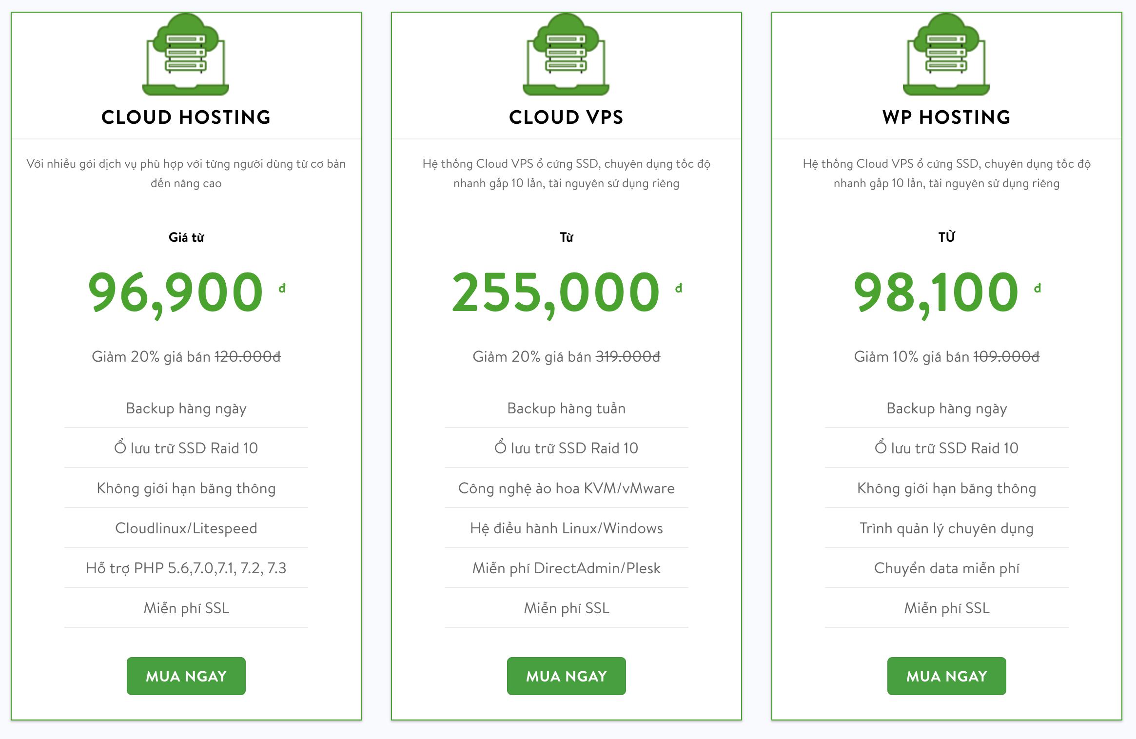 Bảng giá hosting chất lượng cao
